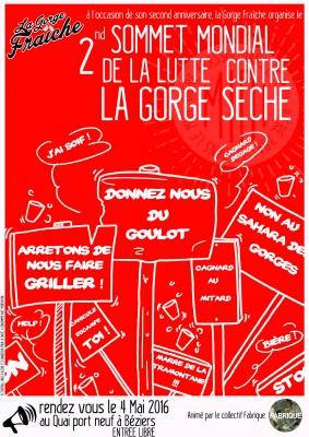 affiche du sommet mondial de la lutte contre la gorge sèche à Béziers, Hérault, Occitanie