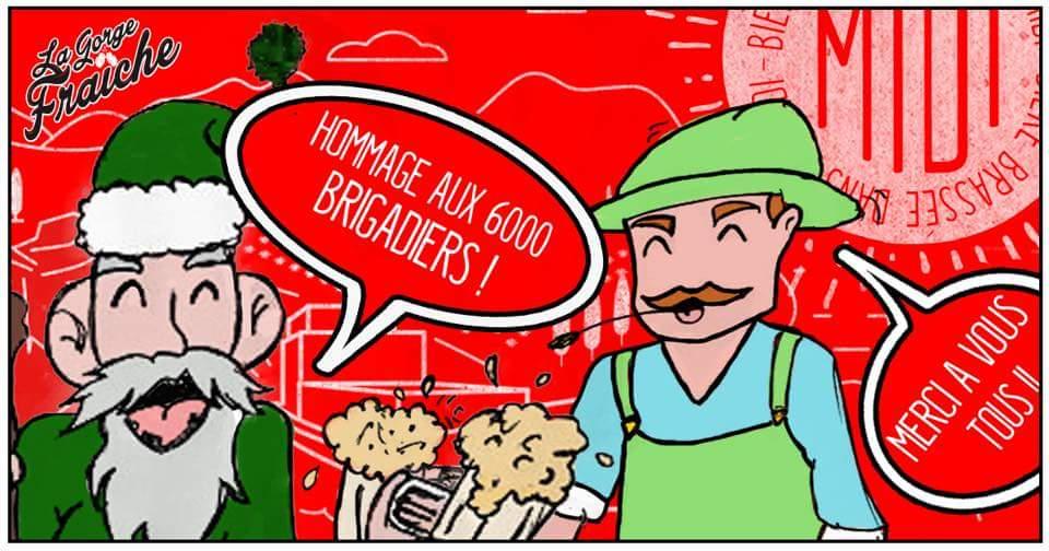 Noël et Aimé, les mascottes de La bière Gorge Fraîche, trinquent aux 6000 brigadiers de la page facebook