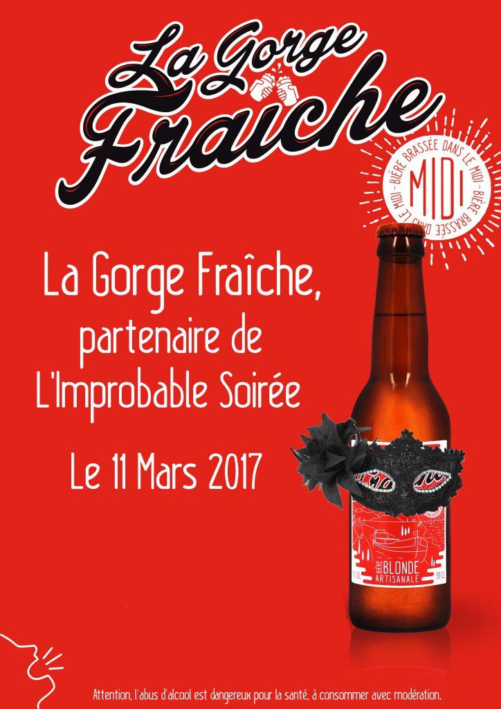 La Gorge Fraîche est partenaire de L'Improbable Soirée © La Gorge Fraîche, bière artisanale Sud de France