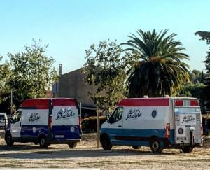 Les camions de la Gorge Fraîche livrant la nouvelle brasserie à Béziers O Petits Bontemps